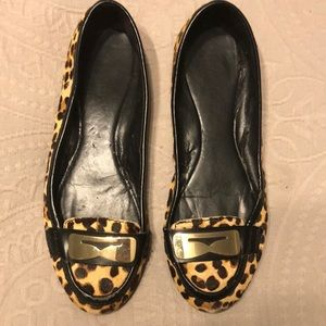Leopard flats with gold buckle details, size 9